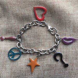 Funky Retro Enamel Charm Bracelet Peace Lips Star